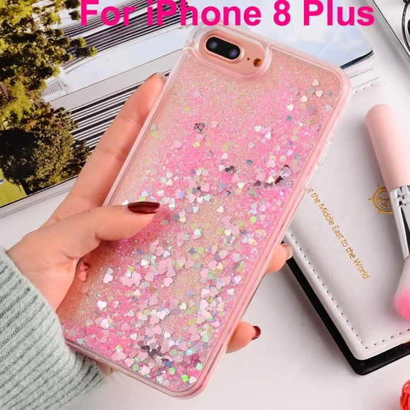 new product 25eac 63bb6 iPhone 8 Plus Case Waterfall Glitter Hearts Pink